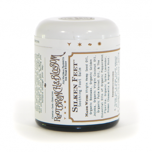Photo of Silken Feet™ Soothing Foot Balm in our brand new glass jar with brand new label!