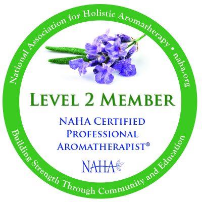 NAHA Logo - National Association for Holistic Aromatherapy organization. Image of the Level 2 Membership earned by Sherrin Bernstein, LMT, CALogo
